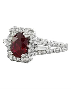 2.38 Carat Ruby 14K White Gold Diamond Ring