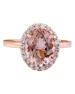 2.87 Carat Natural Morganite 14K Solid Rose Gold Diamond Ring