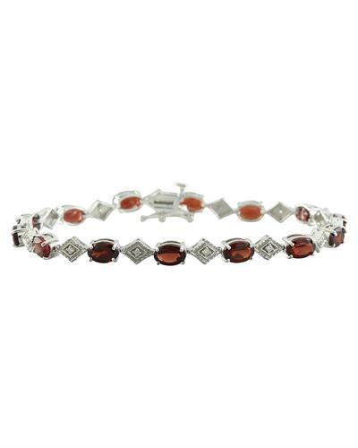 8.50 Carat Garnet 14K White Gold Diamond Bracelet