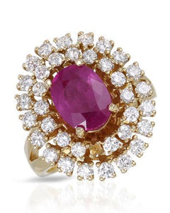 Lundstrom Brand New Ring with 4.12ctw of Precious Stones - diamond and ruby 14K Yellow gold