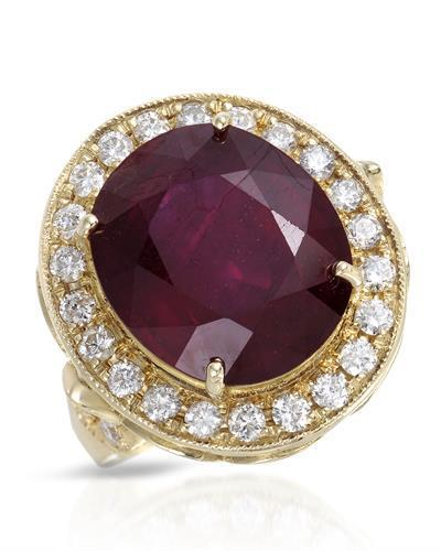 Lundstrom Brand New Ring with 12.97ctw of Precious Stones - diamond and ruby 14K Yellow gold