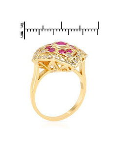 Brand New Ring with 1.55ctw of Precious Stones - diamond, ruby, and ruby 14K Yellow gold