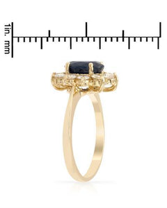 Brand New Ring with 2.59ctw of Precious Stones - diamond and sapphire 14K Yellow gold