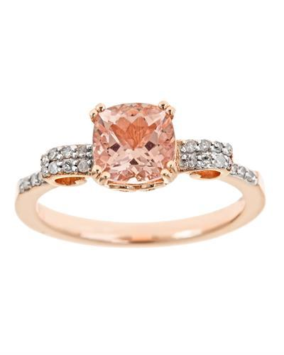 Brand New Ring with 1.37ctw of Precious Stones - diamond and morganite 925 Rose sterling silver
