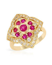 Load image into Gallery viewer, Brand New Ring with 1.55ctw of Precious Stones - diamond, ruby, and ruby 14K Yellow gold