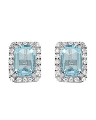 Brand New Earring with 1.8ctw of Precious Stones - topaz and topaz 925 White sterling silver