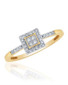 Brand New Ring with 0.28ctw of Precious Stones - diamond and diamond 10K Yellow gold