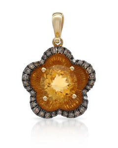 Brand New Pendant with 2.03ctw of Precious Stones - citrine and diamond 14K Yellow gold