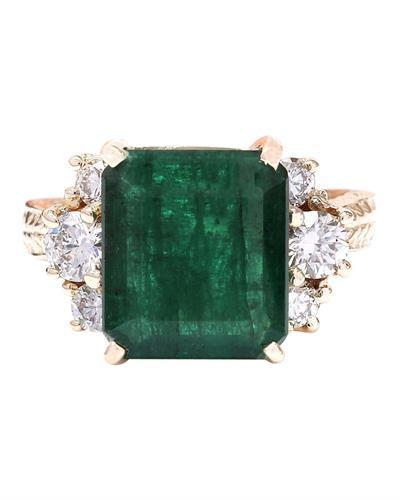 5.25 Carat Natural Emerald 14K Solid Yellow Gold Diamond Ring