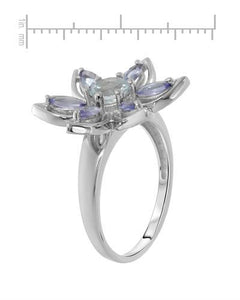 Brand New Ring with 1.29ctw of Precious Stones - aquamarine and tanzanite 925 Silver sterling silver