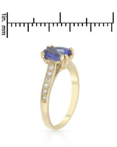 Brand New Ring with 1.65ctw of Precious Stones - diamond and tanzanite 14K Yellow gold