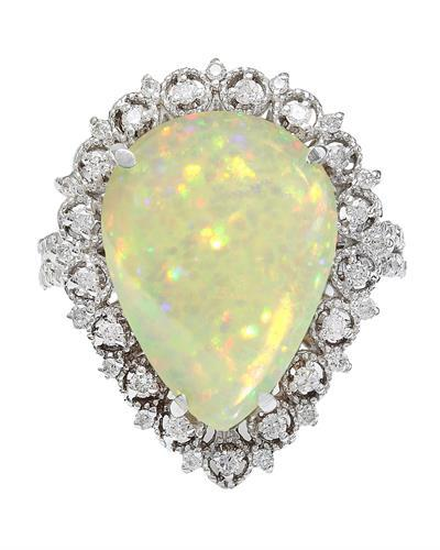 6.55 Carat Natural Opal 14K Solid White Gold Diamond Ring