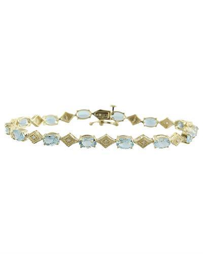 8.50 Carat Aquamarine 14K Yellow Gold Diamond Bracelet