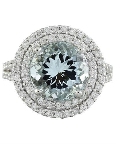 5.55 Carat Aquamarine 14K White Gold Diamond Ring