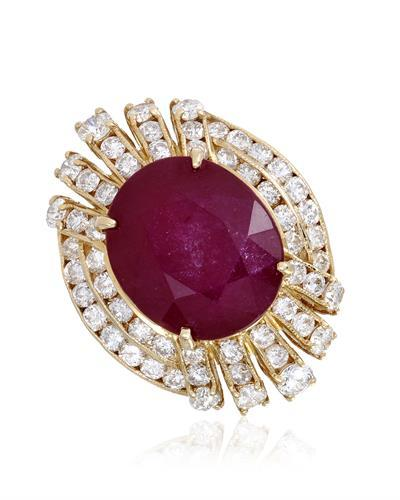 Lundstrom Brand New Ring with 14.14ctw of Precious Stones - diamond and ruby 14K Yellow gold