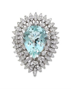 7.18 Carat Natural Aquamarine 14K Solid White Gold Diamond Ring