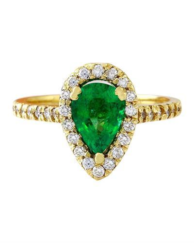 1.50 Carat Natural Emerald 14K Solid Yellow Gold Diamond Ring