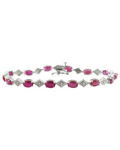 8.50 Carat Ruby 14K White Gold Diamond Bracelet