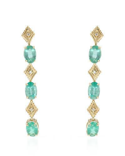 Brand New Earring with 2.18ctw of Precious Stones - diamond and emerald 14K Yellow gold