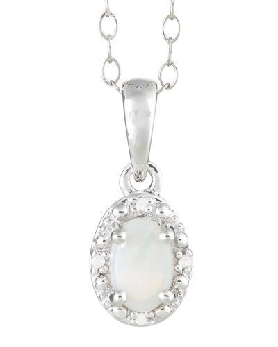 Brand New Necklace with 0.28ctw of Precious Stones - diamond and opal 925 Silver sterling silver