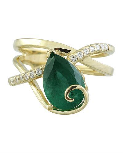 3.55 Carat Emerald 14K Yellow Gold Diamond Ring