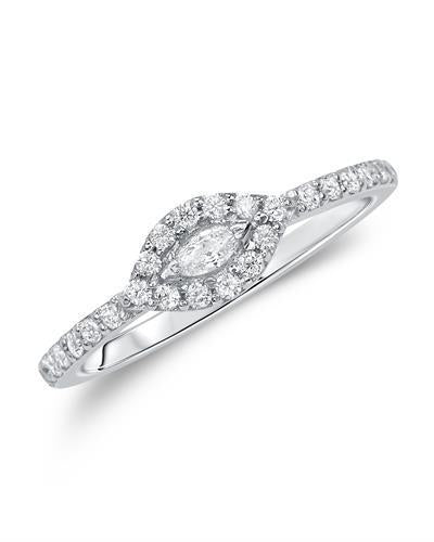 Kono Collection Brand New Ring with 0.37ctw of Precious Stones - lab-grown diamond and lab-grown diamond 14K White gold