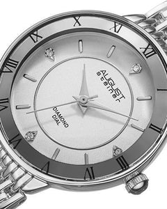 AUGUST Steiner AS8178SS Brand New Japan Quartz Watch with 0.02ctw diamond