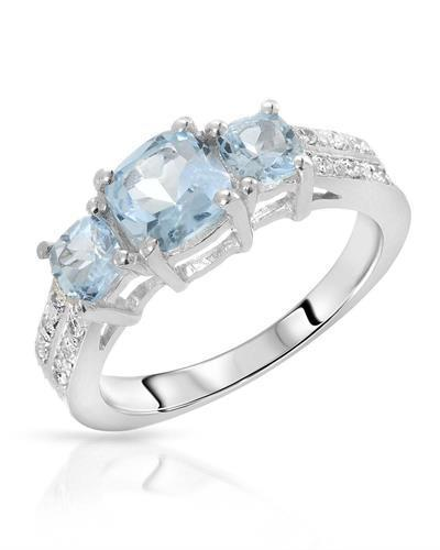 Brand New Ring with 1.98ctw of Precious Stones - topaz and topaz 925 Silver sterling silver