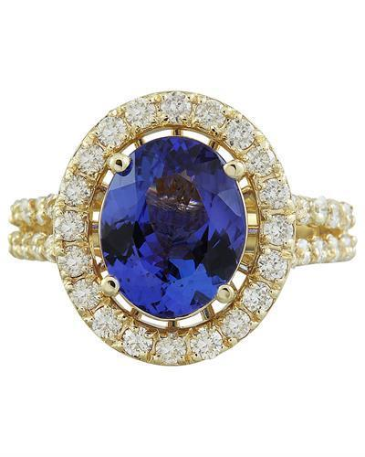 4.85 Carat Tanzanite 14K Yellow Gold Diamond Ring