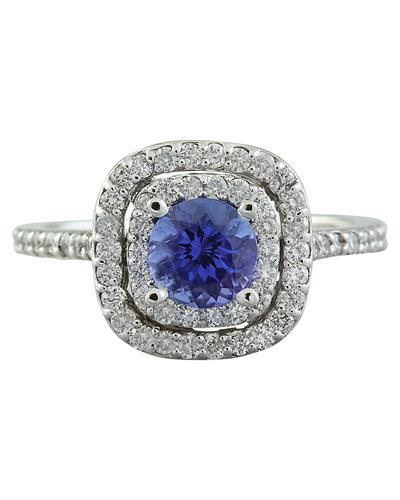 1.30 Carat Tanzanite 14K White Gold Diamond Ring