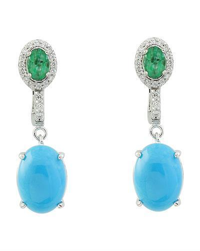 10.65 Carat Turquoise Emerald 14K White Gold Diamond Earrimgs