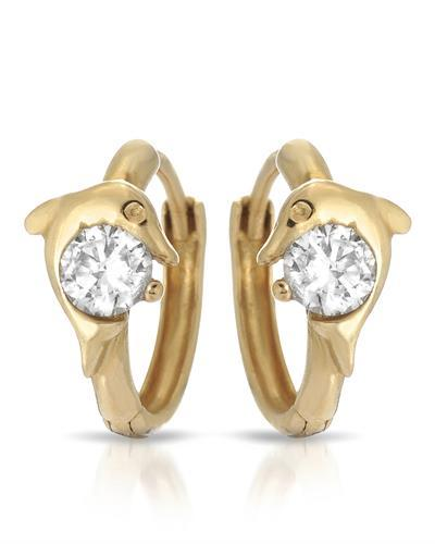 Millana Brand New Earring with 0ctw cubic zirconia 14K Yellow gold