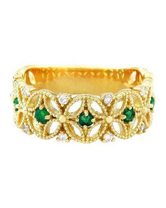 0.45 Carat Natural Emerald 14K Solid Yellow Gold Diamond Ring
