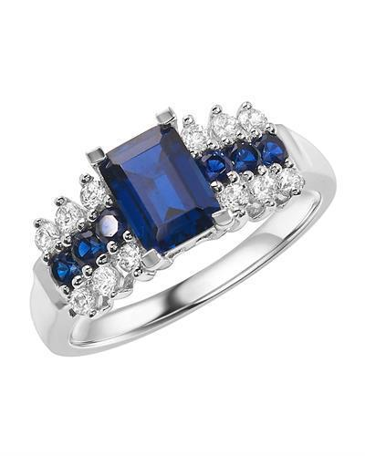 Brand New Ring with 1.5ctw of Precious Stones - sapphire and sapphire 10K White gold