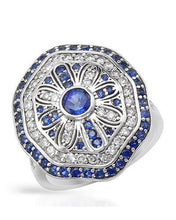 Load image into Gallery viewer, Brand New Ring with 2.74ctw of Precious Stones - diamond, sapphire, and sapphire 14K White gold