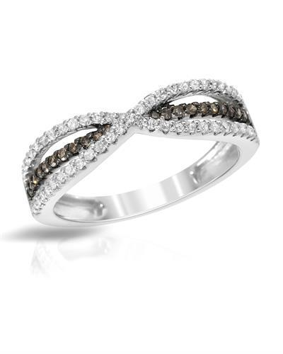 Lundstrom Brand New Ring with 0.39ctw of Precious Stones - diamond and diamond 14K White gold