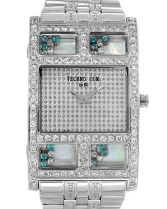 Techno Com by KC Brand New Quartz Watch with 4ctw of Precious Stones - crystal, diamond, and mother of pearl