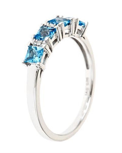 Brand New Ring with 0.9ctw of Precious Stones - diamond and topaz 925 Silver sterling silver