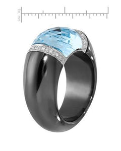Lundstrom Brand New Ring with 10.09ctw of Precious Stones - diamond, hematite, and topaz 14K White gold