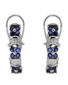 Brand New Earring with 1.45ctw of Precious Stones - diamond and sapphire 14K White gold