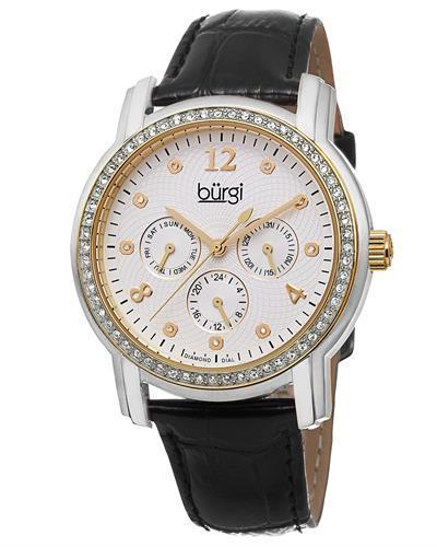 burgi BUR083YGB Brand New Quartz day date Watch with 0.05ctw of Precious Stones - crystal and diamond