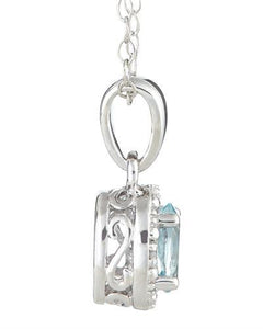 Brand New Necklace with 0.41ctw of Precious Stones - aquamarine and diamond 925 Silver sterling silver