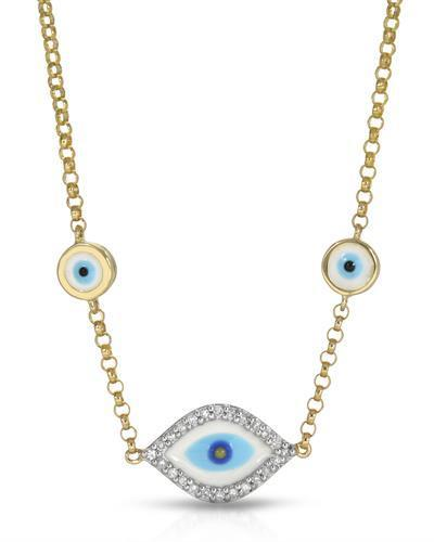 Brand New Necklace with 0.09ctw diamond  Multicolor Enamel and 14K Yellow gold