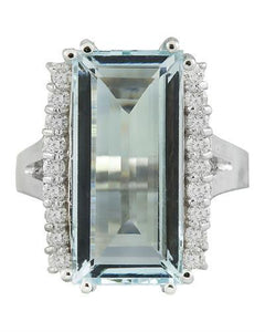7.27 Carat Aquamarine 14K White Gold Diamond Ring