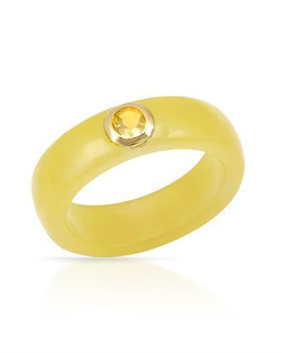 Brand New Ring with 0.42ctw of Precious Stones - citrine and jade 14K Yellow gold