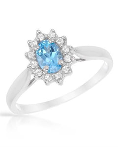 Brand New Ring with 0.75ctw of Precious Stones - topaz and topaz 925 Silver sterling silver