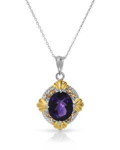 Brand New Necklace with 5.5ctw of Precious Stones - amethyst and citrine 925 Two tone sterling silver