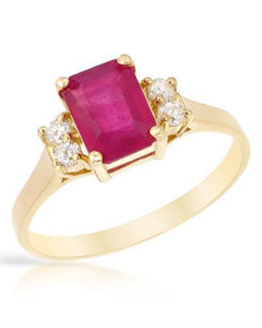 Brand New Ring with 2.65ctw of Precious Stones - diamond and ruby 14K Yellow gold