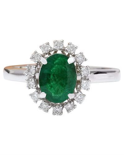 1.51 Carat Natural Emerald 14K Solid White Gold Diamond Ring