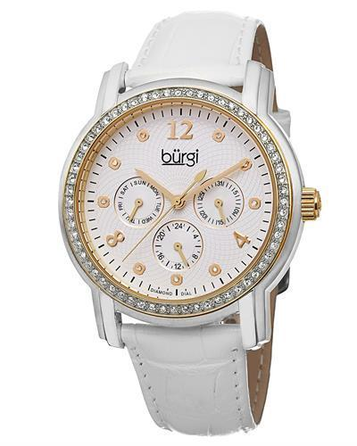 burgi BUR083YGW Brand New Quartz day date Watch with 0.05ctw of Precious Stones - crystal and diamond